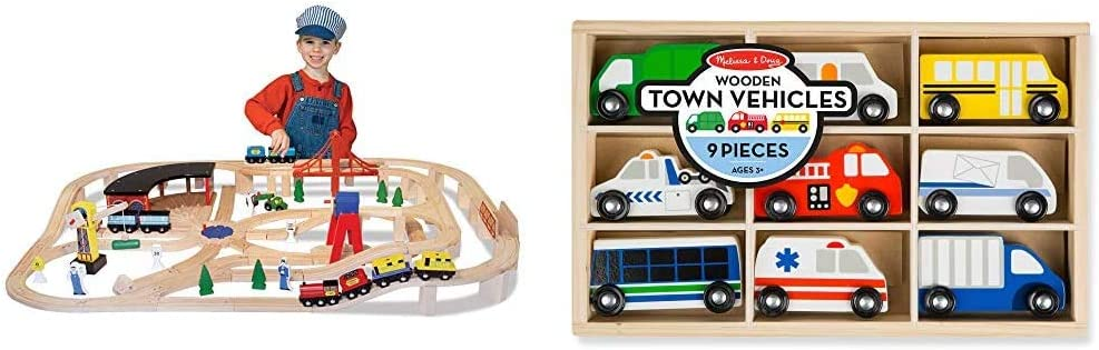 Melissa & Doug Wooden Railway Set, 130 Pieces (E-Commerce Packaging, Great Gift for Girls and Boys - Best for 3, 4, 5 Year Olds and Up) & Wooden Town Vehicles