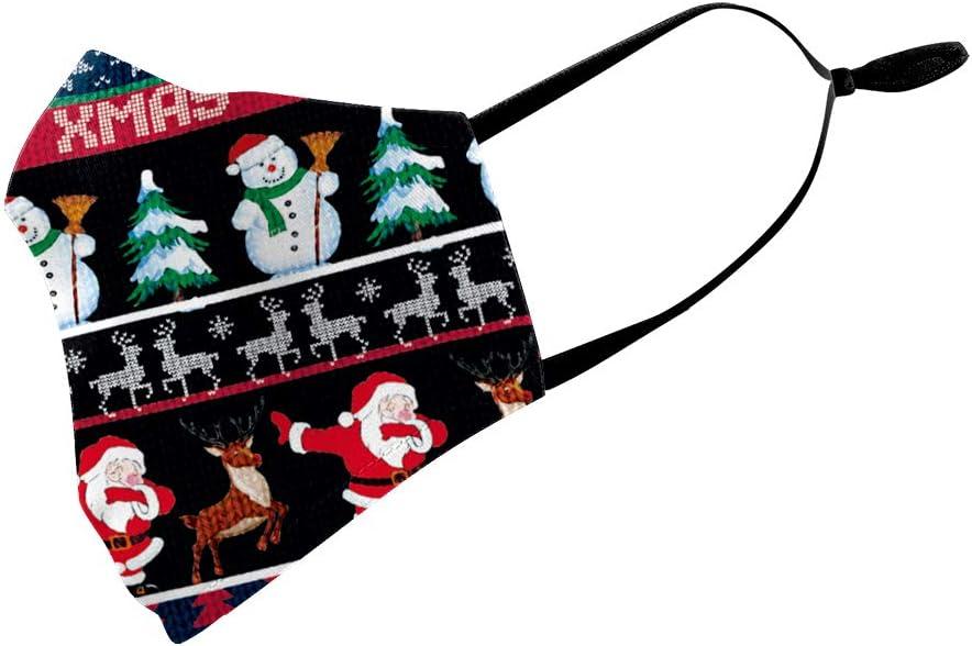 Eboutik Weihnachtliche Hässliche Pullover Designs Stoff Gesichtsmasken Mit Filterschlitz Wiederverwendbare Waschbare Und Atmungsaktive Gesichtsbedeckungen Tabbing Santa Auto