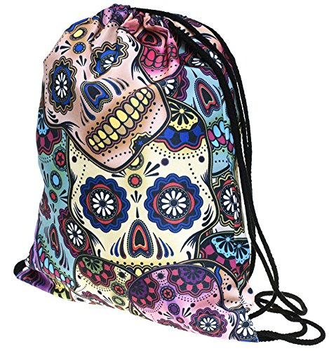 Print Ababalaya 3D Bags Drawstring Backpack Bag Shoulder Gym Colorful Skull Rucksack 55rxqdw7