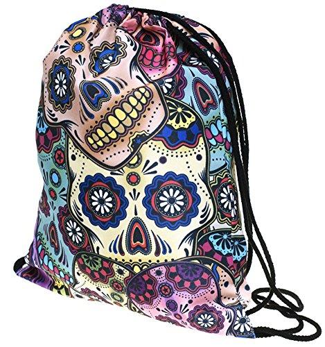 Print Ababalaya 3D Bags Drawstring Backpack Bag Shoulder Gym Colorful Skull Rucksack 55rxqdw7