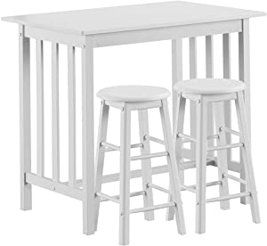 COSTWAY 3-Piece Wood Pub Table Set, Counter Height Dinning Bar Dining Table with 2 Stools Set, Contemporary Rubber Wood Breakfast Table Set for Kitchen, Living Room Home Restaurant Pub, White