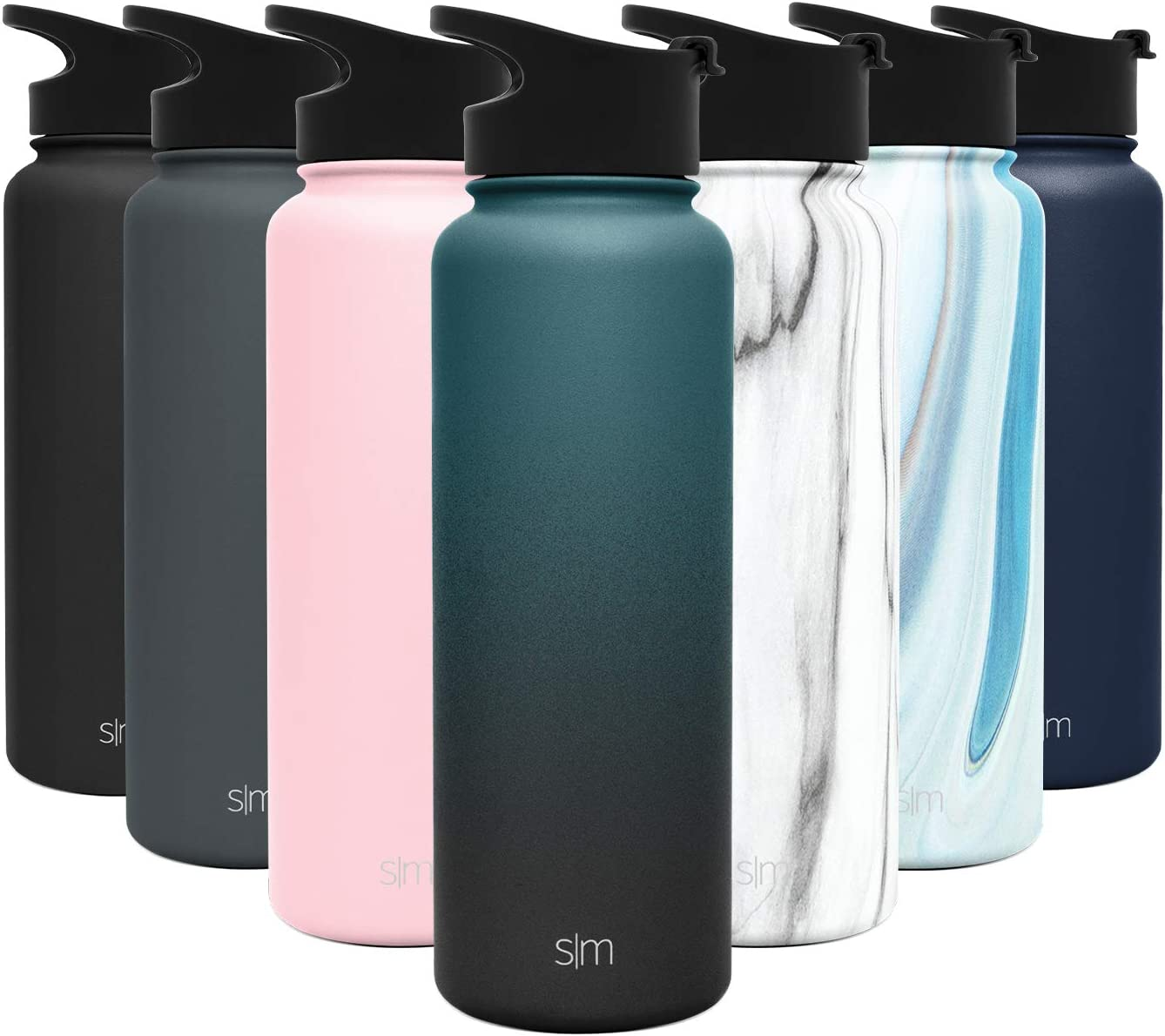 Simple Modern 40 Ounce Summit Water Bottle - Stainless Steel Tumbler Metal Flask +2 Lids - Wide Mouth Double Wall Vacuum Insulated Leakproof Ombre: Moonlight