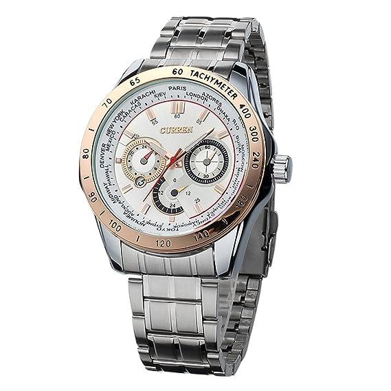 Hombres Curren relojes de lujo de marca superior reloj de cuarzo de acero militar del ejército deporte reloj de oro a prueba de agua: Amazon.es: Relojes