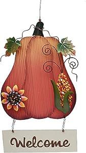 Kilipes Fall Welcome Sign for Door Wood Pumpkin Welcome Sign Harvest Autumn Halloween Thanksgiving Hanging Wall Door Decoration
