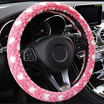 Elastic Breathable Ice Silk Universal 15 inch KAFEEK Steering Wheel Cover,Warm in Winter and Cool in Summer Pink