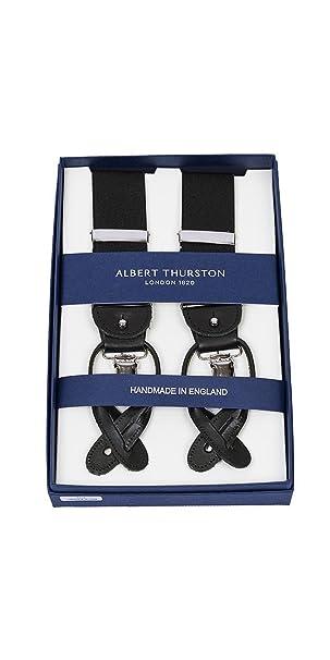 offrire bella vista come ottenere Albert Thurston Bretelle Uomo Nera Rifiniture in Pelle - Made in England