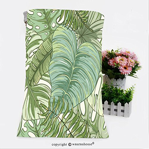 VROSELV Cotton Microfiber Bathroom Bath Towel-seamless tropical palm leaves pattern summer endless hand drawn vector background of areca palm Custom pattern of household products(27.6
