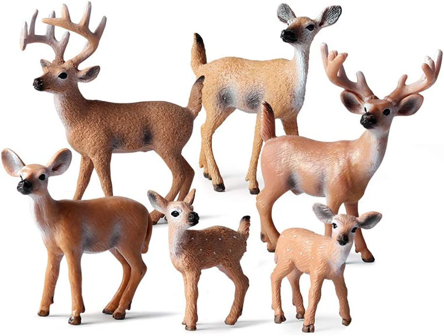 6 Pcs Deer Figurines, White-Tailed Deer Family Figurines Cake Toppers for Baby Shower&Birthday Party