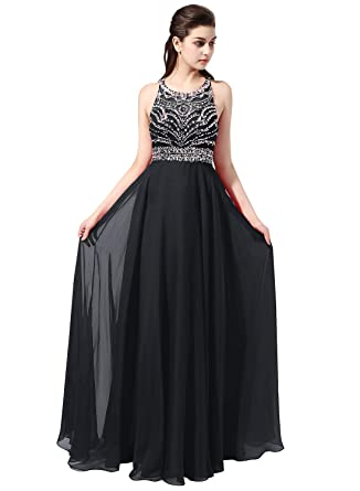 6d0789a5575b4 Unbranded* Jazylynbride Long Chiffon Beading Evening Dress Keyhole Back  Prom Dress Black