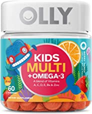 OLLY Kids Multi + Omega 3 Gummy Multivitamin, 30 Day Supply (60 Count), Berry Tangy, Vitamins A, C, D, E, B, Zinc, Omega 3,