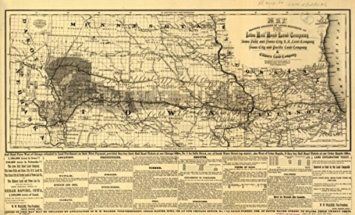 Map: 1871 showing location of lands belonging to the Iowa Rail Road Land Company Iowa Falls, and Sioux City R.R. Land Company Sioux City, and Pacific Land Company & Elkhorn - Sioux Stores Falls
