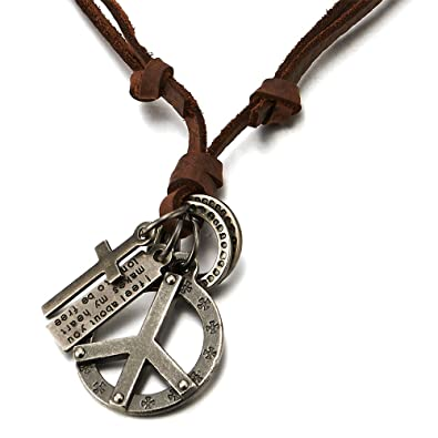 COOLSTEELANDBEYOND Retro Style Angel Wing Pendant Unisex Necklace for Men for Women with Adjustable Leather Cord G1BALRDN5U