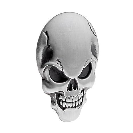 Amazon.com: Insignia de calavera 3D de metal para decoración ...