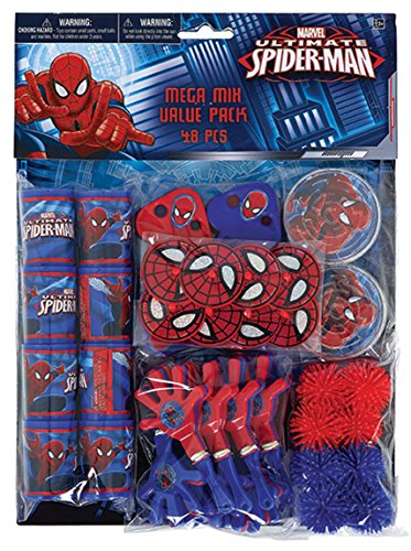 Amscan Marvel's Ultimate Spider-Man Party Favor Pack (48 Piece), Blue/Red -