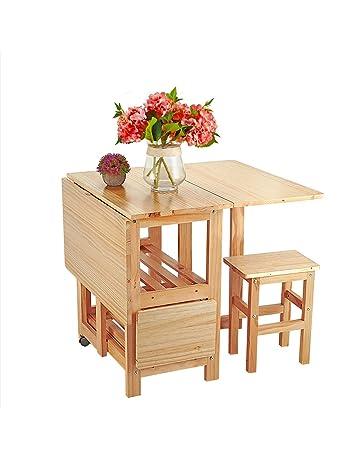 Yulie Ensemble Table Pliante + 4 Chaises En Bois Petit Appartement  Multifonction Table à Manger à