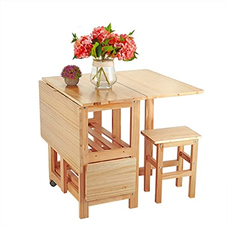 Anaelle Pandamoto Ensemble Table Pliante En Bois De Pin 4