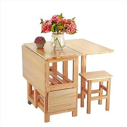 Anaelle Pandamoto Ensemble Table Pliante En Bois De Pin 4 Chaises Pliante Pour Salle à Manger Cuisine Séjour Café Poids 26kg Naturel
