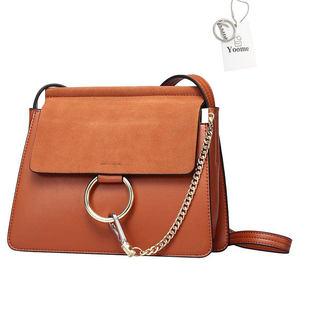 Yoome Women Genuine Leather Crossbody Shoulder Purse Chain Messenger Bag for Girls Split Fashion Clutch - Brown