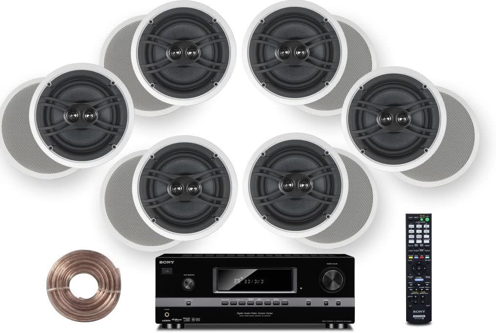 "Sony HD Digital Cinematic Sound 700 Watts 7.1 Channel 3D A/V Receiver + Yamaha Natural Sound Custom Install In-Ceiling 3-Way 120 watts Speaker (Set of 6) with Dual Tweeters & 8"" Woofer + 100ft 16 AWG Speaker Wire"