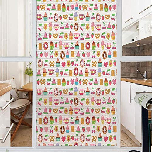 - Decorative Window Film,No Glue Frosted Privacy Film,Stained Glass Door Film,Sweets Candies Cookies Fruit and Other Cute Things Festive Cheerful Collection Decorative,for Home & Office,23.6In. by 59In