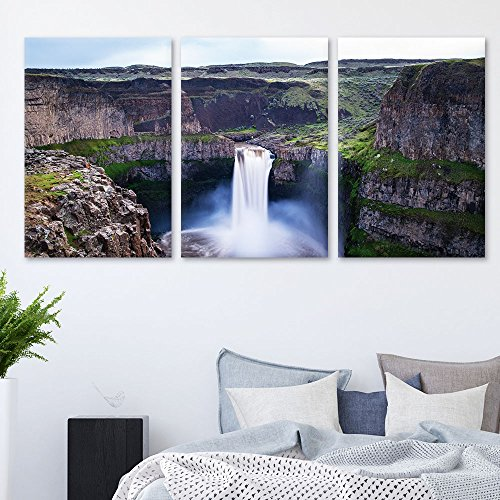 3 Panel Landscape Waterfall in The Rocky Mountain Area x 3 Panels