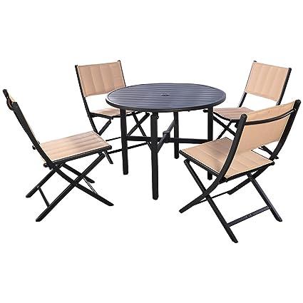 Giantex 5 PCS Patio Outdoor Folding Chairs Table Furniture Set Backyard  Bistro