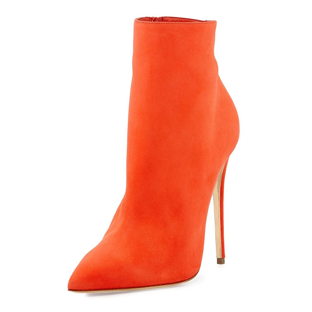 Joogo Pointed Toe Ankle Boots Size Zipper Stiletto High Heels Party Wedding Pumps Dress Shoes for Women Orange Size 10