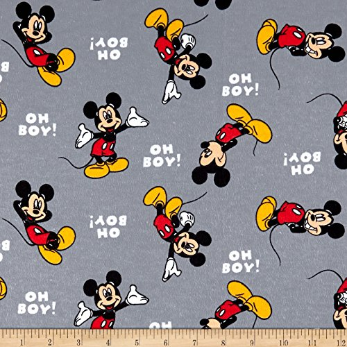 Springs Creative Products Disney Cotton Flannel Oh Boy Mickey Red Fabric by The Yard (Disney Flannel Fabric)