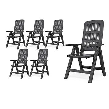 Oskar Salon de Jardin 6 chaises à Dossier Haut en Plastique ...