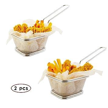 Home Servz Mini de acero inoxidable cesta de la freidora cestas de freír,platos para