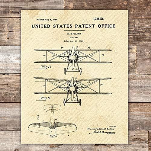 Airplane Patent Print Wall Art - Unframed - 8x10 (Airplane Art Print)