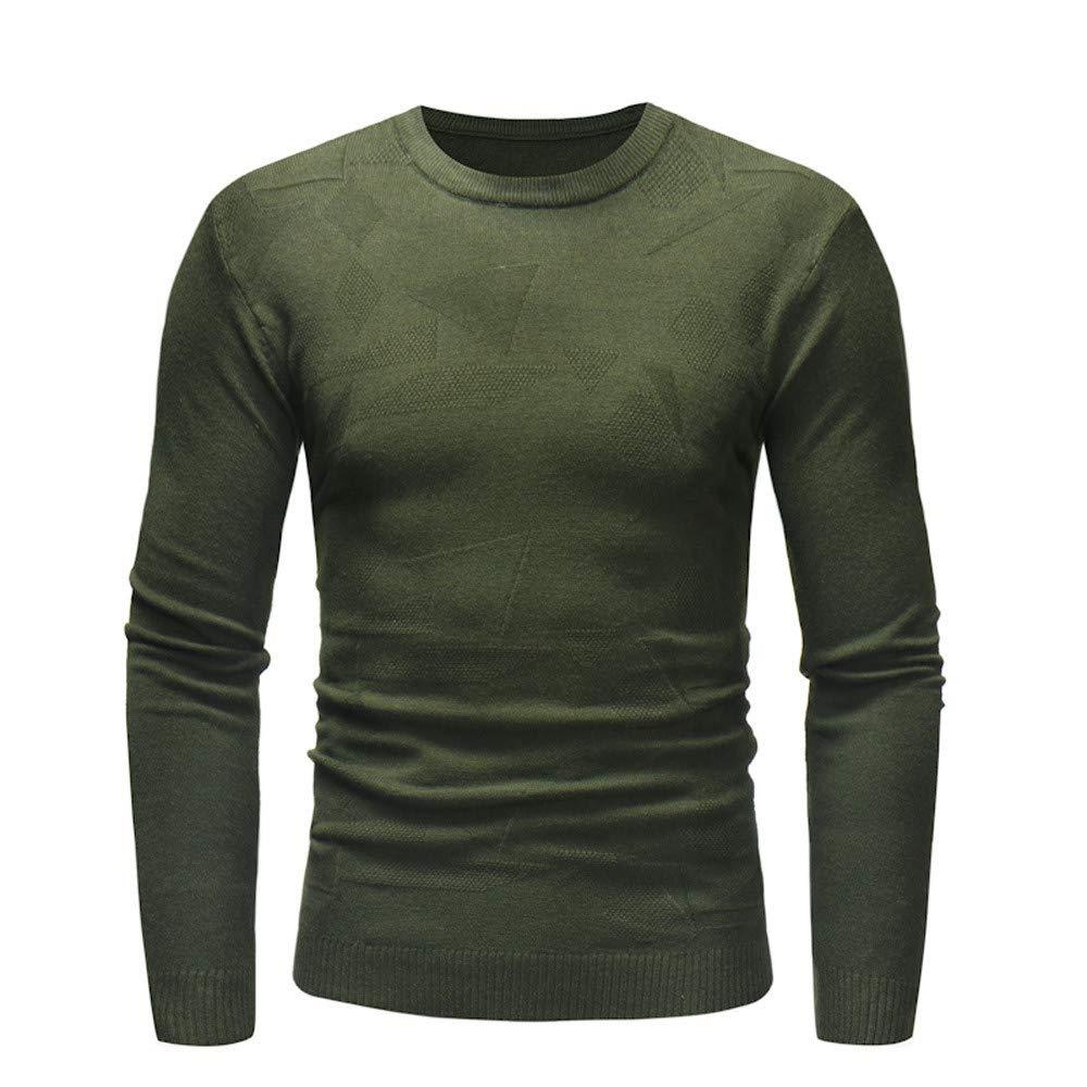 iYBUIA Men's Autumn Winter Pure Sweater Pullover Slim Jumper Knitwear Outwear Blouse(Army Green,XL)