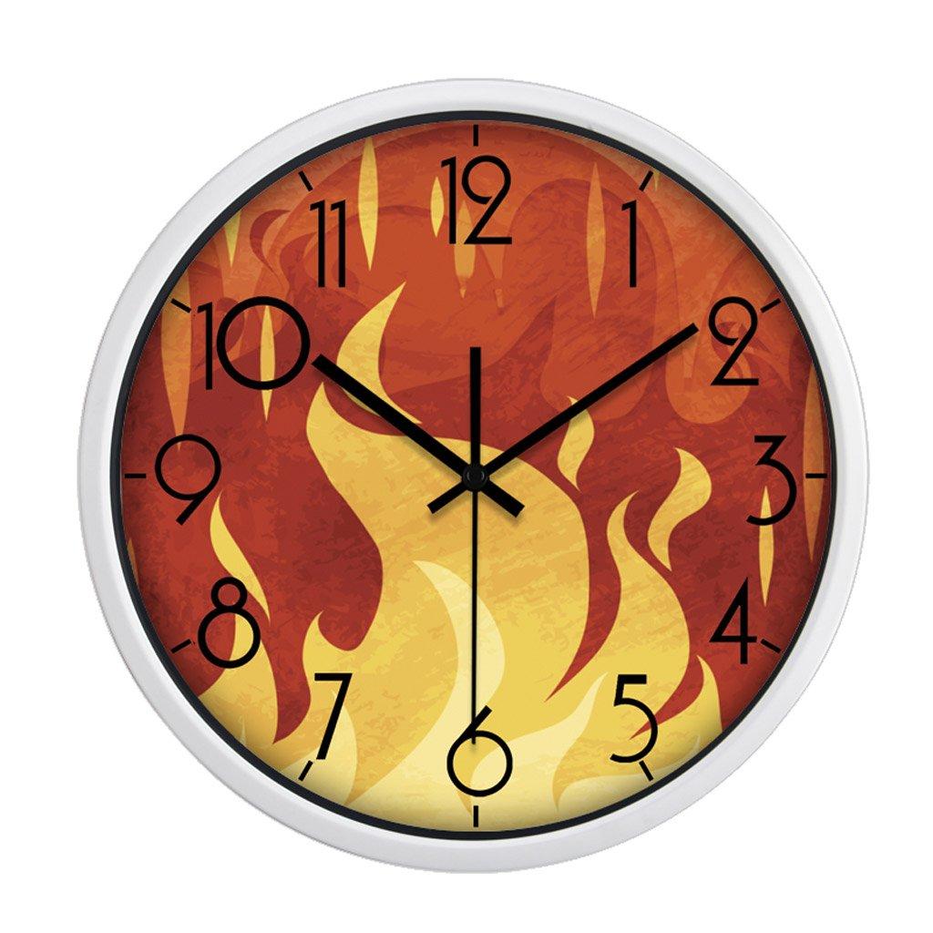 掛け時計 キッドレッドファイヤーパターンウォールデコレーションの漫画の壁時計ミュートベッドルームラブリーラウンド Rollsnownow (色 : 白, サイズ さいず : 14 Inches) B07FP4WKHJ 14 Inches|白 白 14 Inches