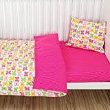 Toddler Duvet Cover and Pillowcase Bedding Set 100% cotton 90*135 cm Girls Pink