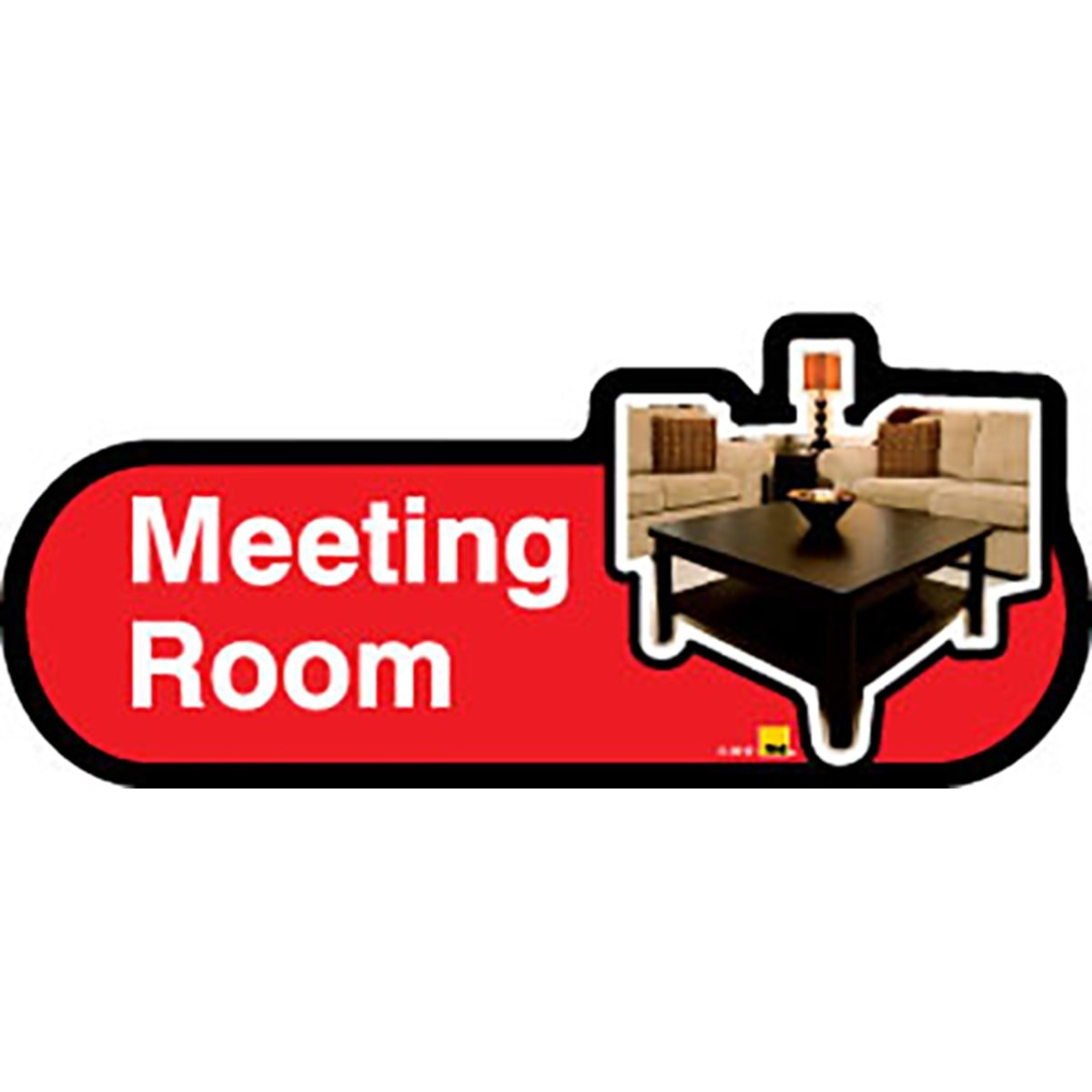 Dementia Friendly Meeting Room - Red Sign -400mm Wide with Screw Fix by Dementia Friendly