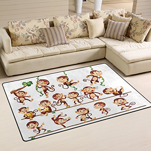 WOZO Monkey Doing Different Actions Area Rug Rugs Non-Slip Floor Mat Doormats Living Room Bedroom 60 x 39 inches - Monkey Rug