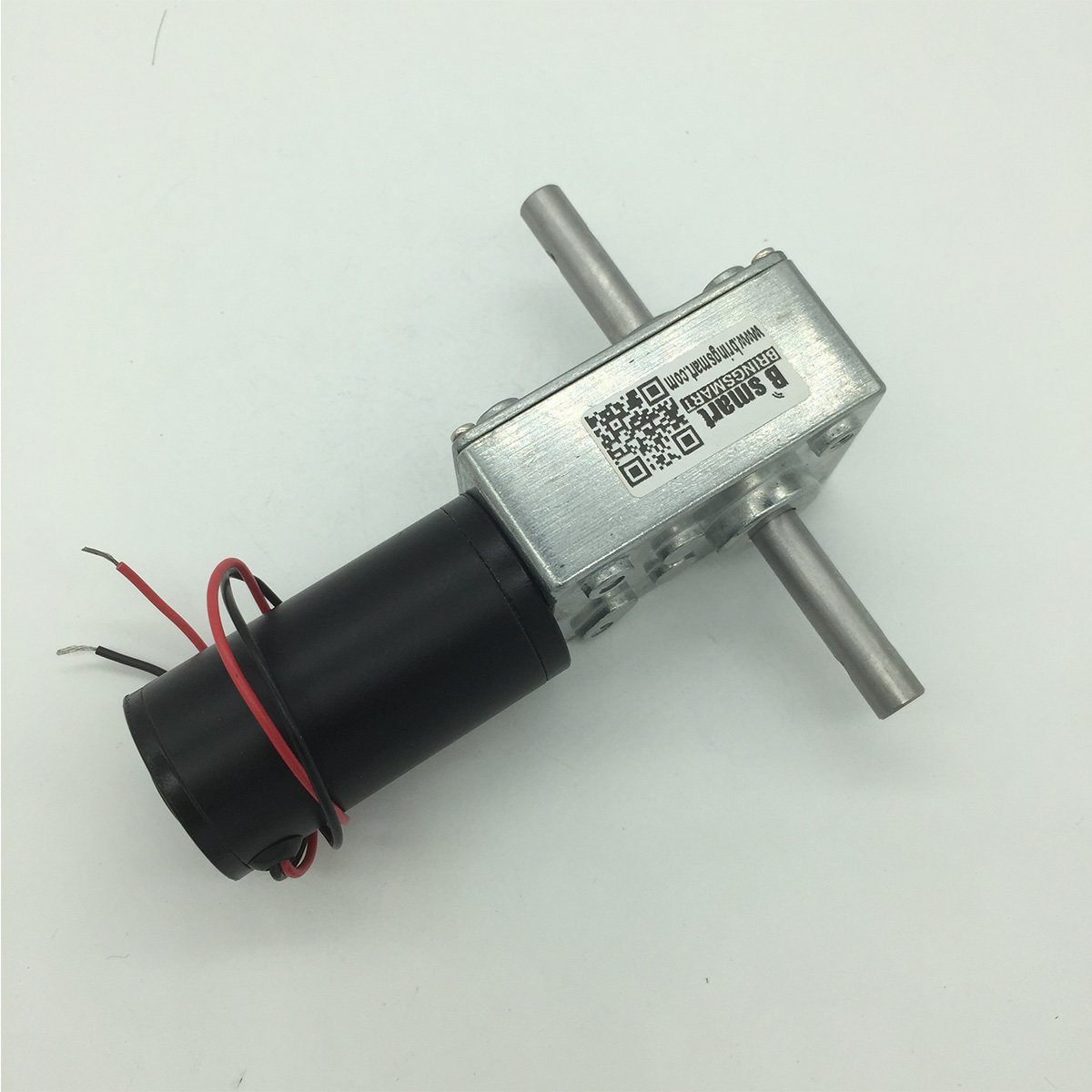 Bringsmart 12V 12rpm DC Worm Gear Motor with Double Shaft Motors Reversed Self-lock for Automatic Clothes Hanger