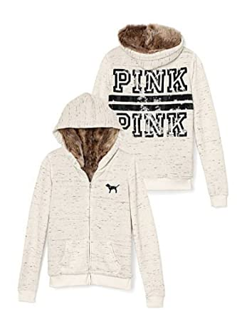 d5c12813c06fb Victoria's Secret Pink Full Zip Fur Bling Hoodie, Beige Marled S