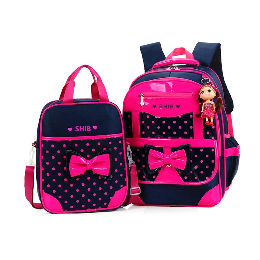 WINGMO Sets de sacs scolaires, Sac à Dos Cartable Primaire Fille Enfant Princesse Sac des Elèves+Sac d'Épaule (Noir) Sac à Dos Cartable Primaire Fille Enfant Princesse Sac des Elèves+Sac d'Épaule (Noir)