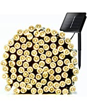 Solar String Lights, Solar Powered String Lights, TEasy 72ft 200 LED 8 Modes Waterproof Led Solar String Lights, Bendable Copper Ambiance Lighting for Outdoor,Garden,Homes,Wedding,Christmas Party,Holiday Decoration Warm White