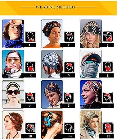 Senderismo Mujeres Hombres Ni/ños Subida E-db 9Pack Multifuncional Headwear 12-In-1 Magic Bufanda Diadem Bandana Cuello Bufandas Ciclismo