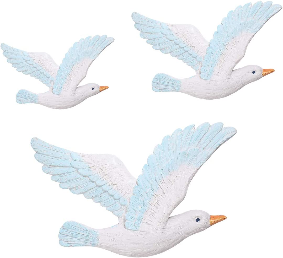 Garneck 3pcs Mediterranean Seagulls Birds Resin Nautical Nordic Seabirds Ornaments Marine Wall Hanging Decoration for Coffee Shop Bar Bedroom Living Room Home