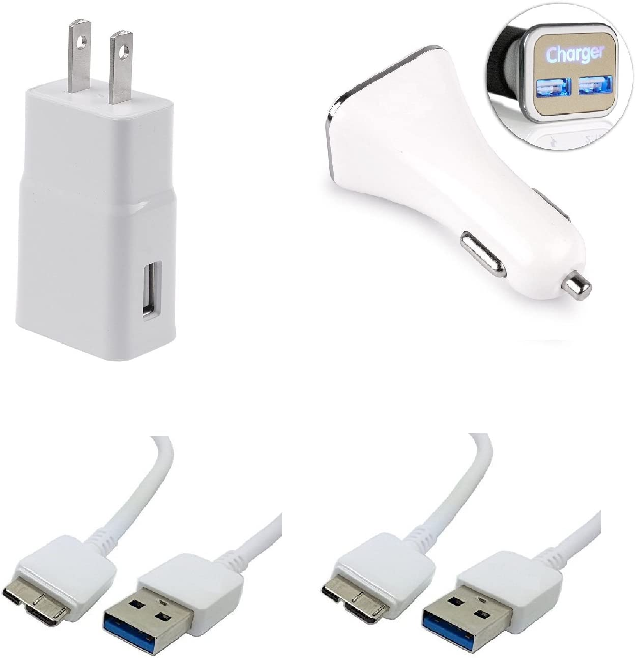 Galaxy S5 and Note 3 for Samsung Charger Micro USB 3.0 Cable Kit by RKINC [Wall Charger + Car Charger + 2 Cables] Adaptive Charging uses Dual voltages ...
