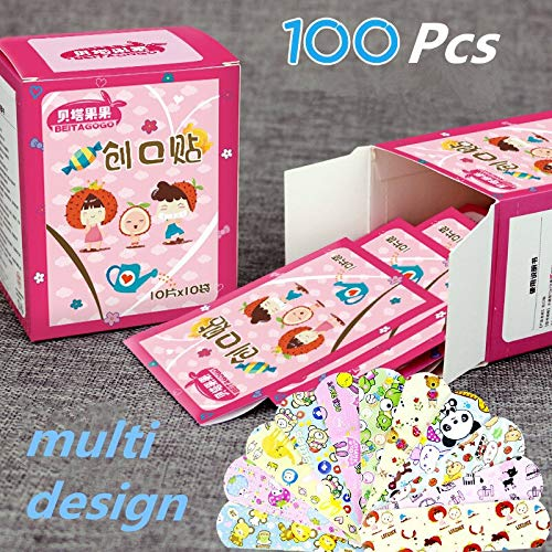 Yichener 100PCs Waterproof Cute Cartoon Band Aid Hemostasis Adhesive Bandages First Aid Emergency Kit For Kids Children