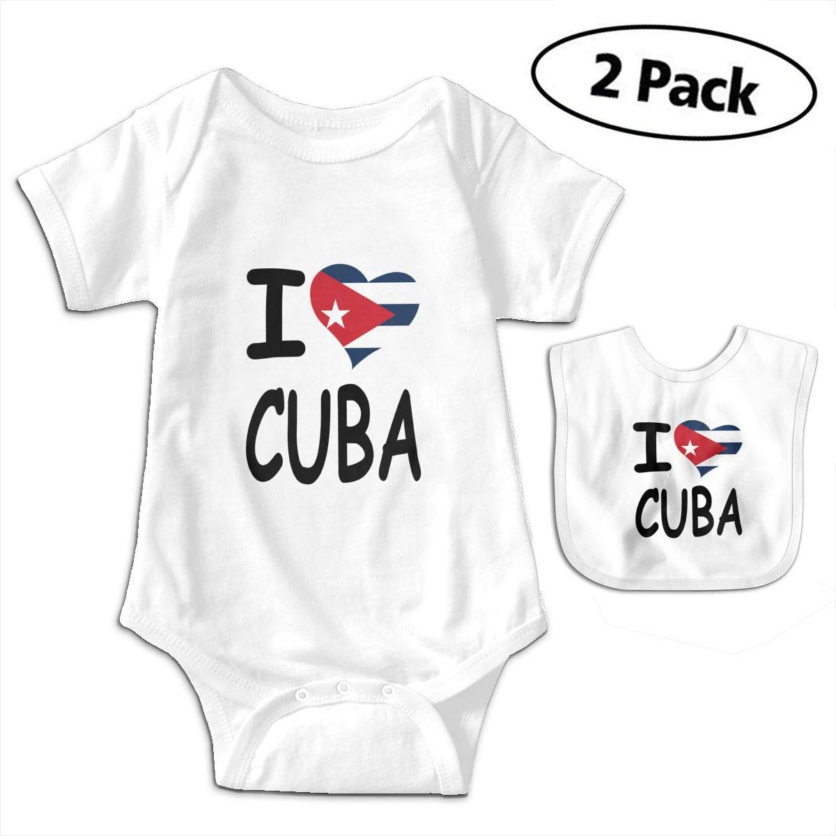 I Love Cuba Infant Baby Boys Girls Short Sleeve Romper Bodysuit Outfit Clothes