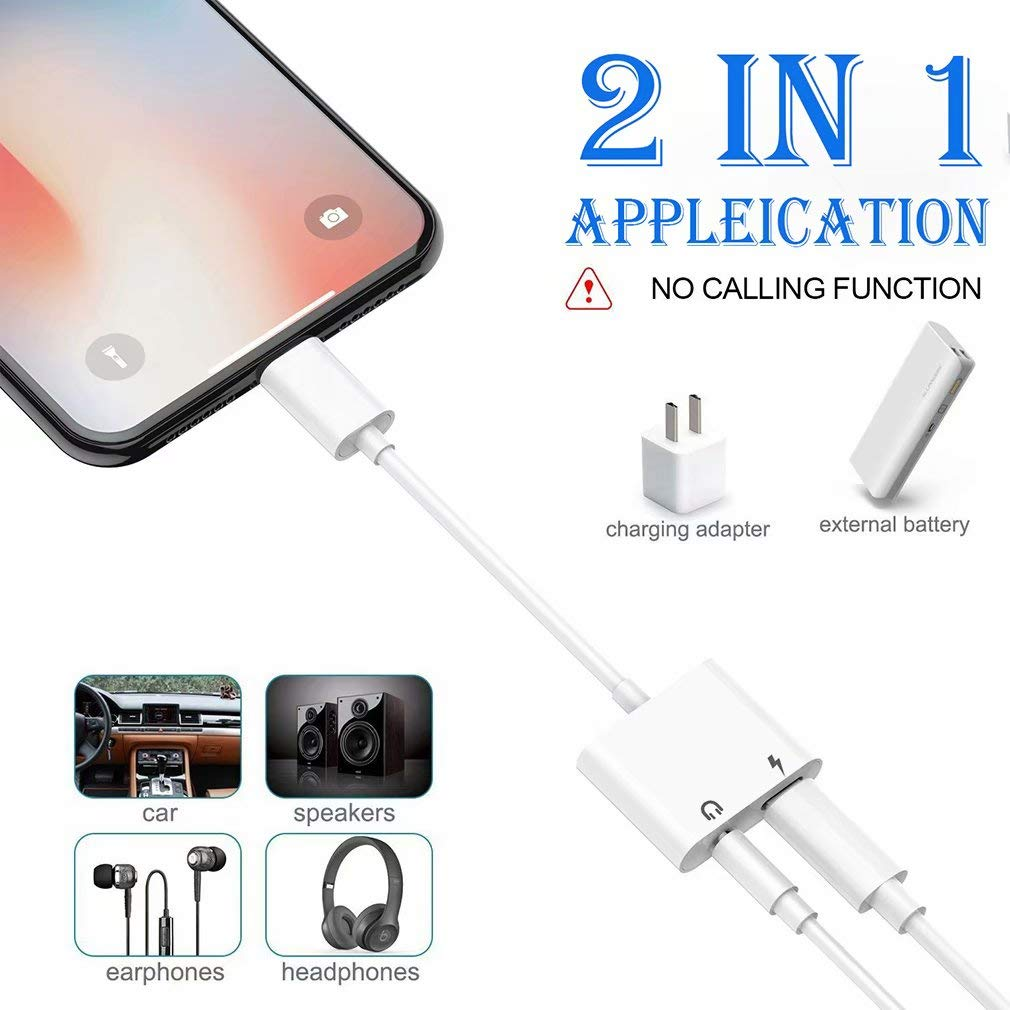 Headphone Adapter for iPhone X//XS//XS MAX//XR//8// 8Plus// 7//7 Plus Headset Adaptor Splitter Mini Earphone Connector Convertor 2 in 1 Accessories Cables Call Charge Music Wire Control Black doudoujia