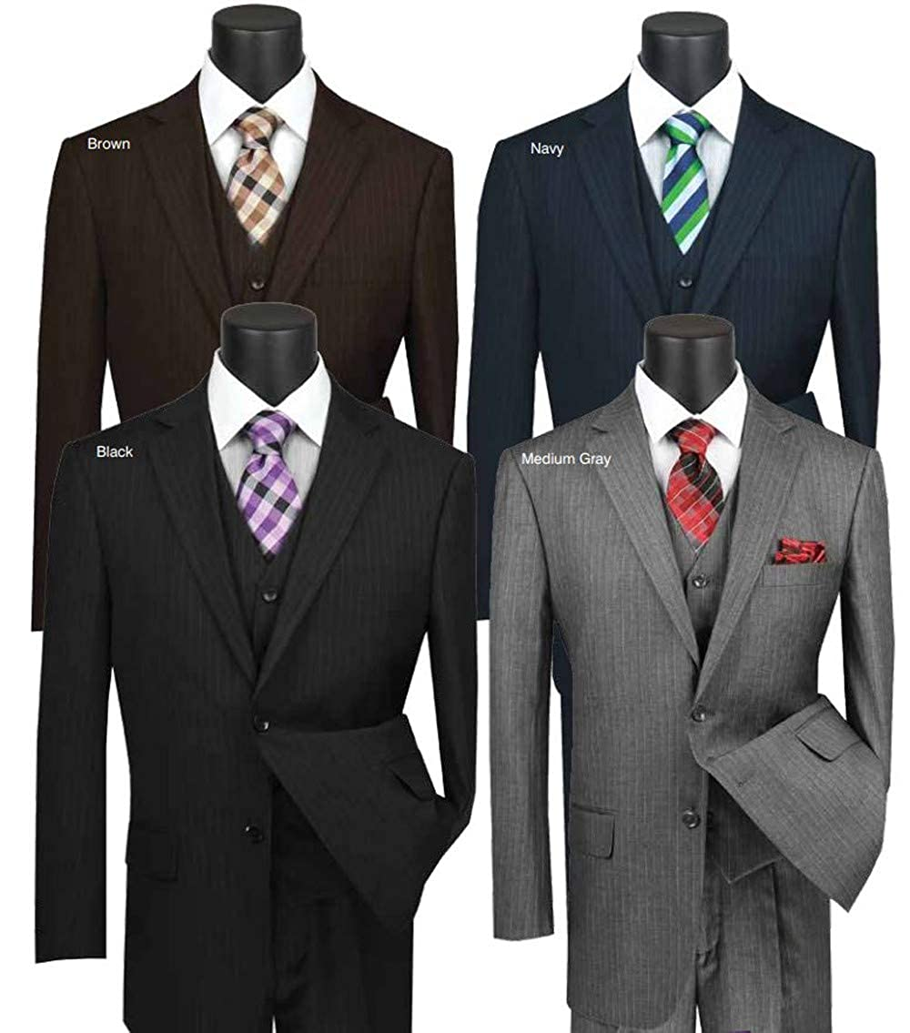 VINCI Mens Pinstripe 2 Button Single Breasted Classic Fit Suit with Vest V2RS-7