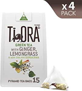 Ti Ora Green Tea - with Ginger, Lemongrass & New Zealand Kawakawa - 4 Packs of 15 Pyramid Tea Bags (60 Serves)