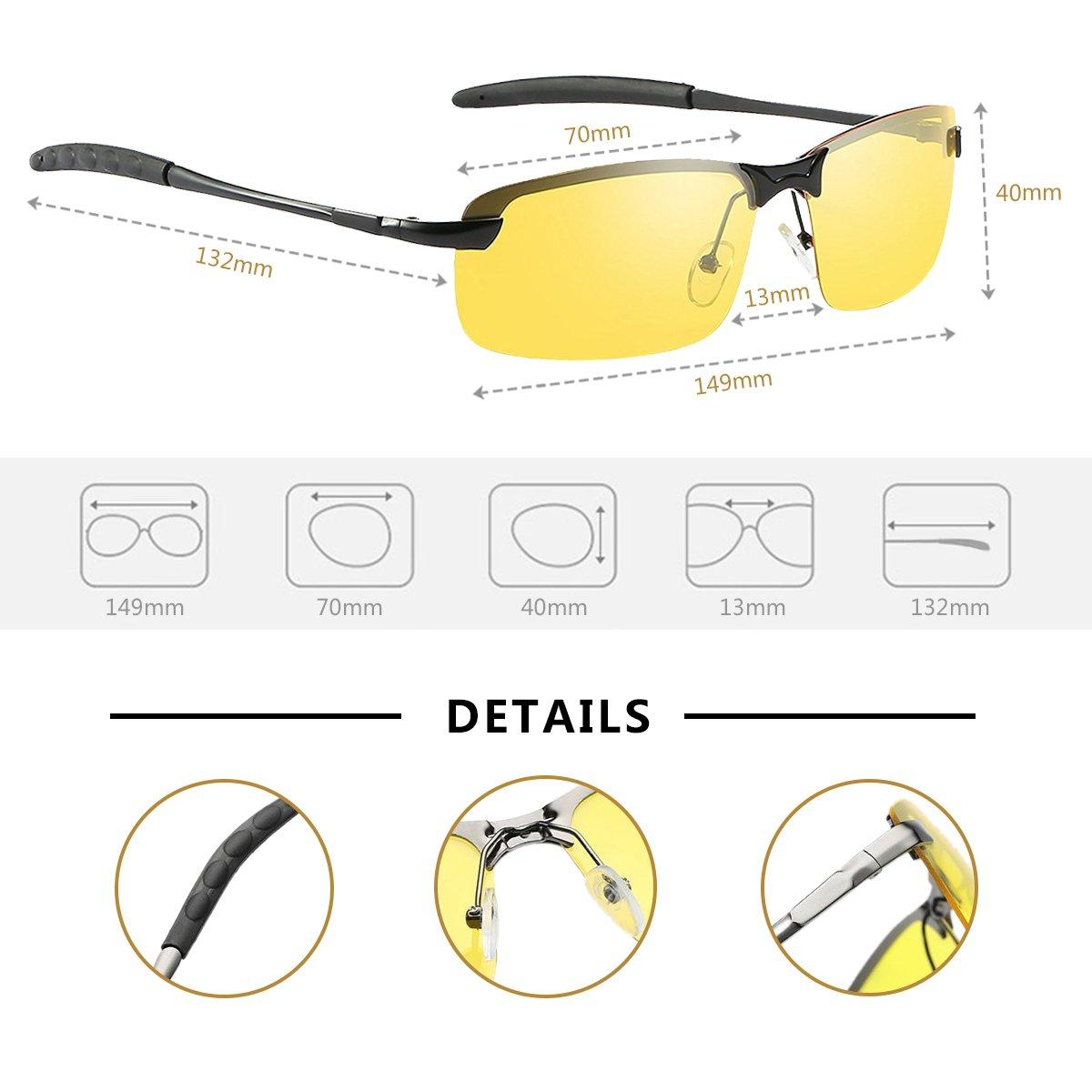 Amazon.com: Gafas de sol polarizadas, gafas de conducción para todo clima - Protección UV: Clothing
