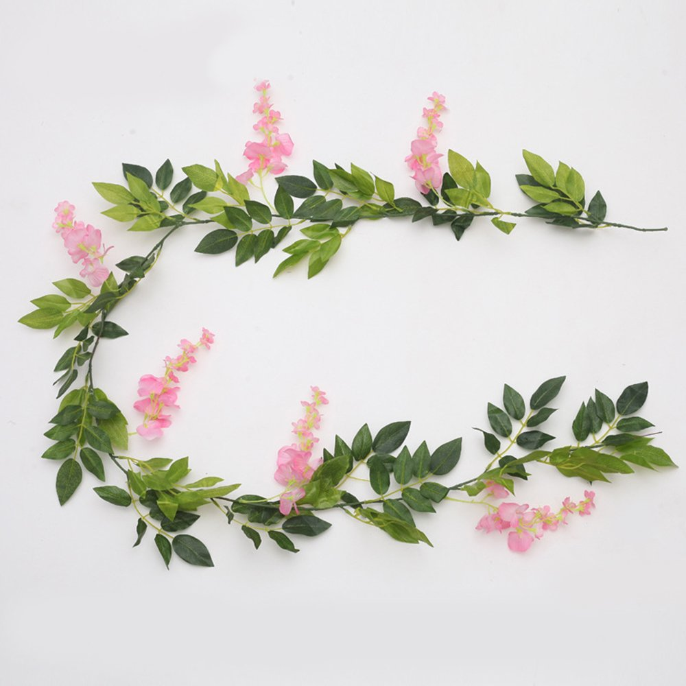 Loweryeah Artificial Fake Wisteria Flower with Green Leaf Hanging Vine Garland Artificial Flora Wreath for Home Yard Fence Wedding Garden Decoration